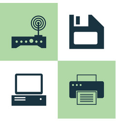 computer icons set collection of diskette vector image vector image
