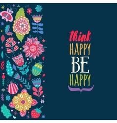 Floral card design flowers and leaf doodle vector image vector image