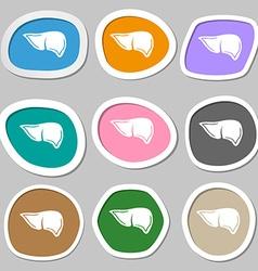 Liver symbols Multicolored paper stickers vector image