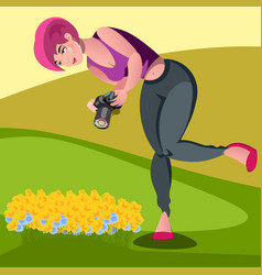 photographers take pictures of dandelion vector image