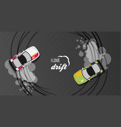 top view of a drifting cars vector image vector image