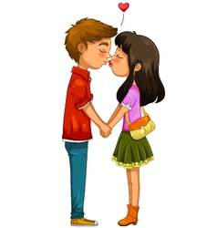 young couple kissing vector image vector image