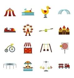 Amusement park icons set flat style vector image vector image