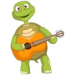 Funny Turtle Guitarist vector image vector image
