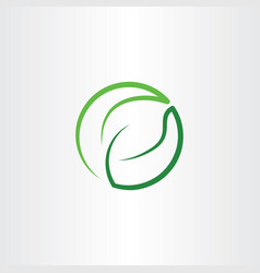 leaf green eco symbol logo icon circle vector image vector image