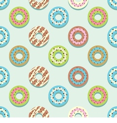Seamless Pattern Different Style Colorful Donuts vector image
