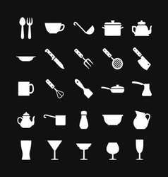 Set icons of dishware and kitchen accessories vector image