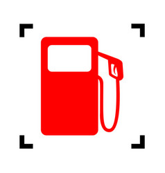 gas pump sign red icon inside black focus vector image