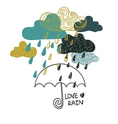 Of Rain Clouds And Umbrella vector image vector image