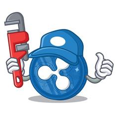 Plumber ripple coin character cartoon vector