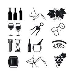 Wine black icons set vector