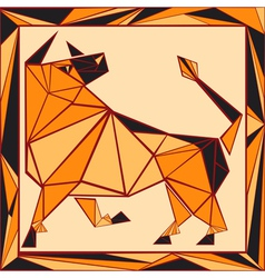 Chinese horoscope stylized stained glass ox vector image