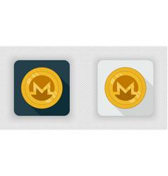 light and dark crypto currency icon monero vector image