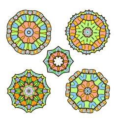 set of five abstract ornament sacred mandalas vector image vector image