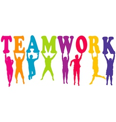 Teamwork concept with colored women and men vector image