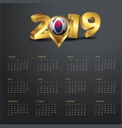 2019 calendar template korea south country map vector