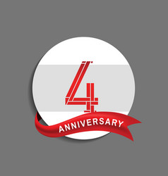 4 anniversary with white circle and red ribbon vector