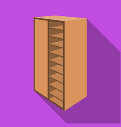 a brown wooden bookcase with many books on its vector image