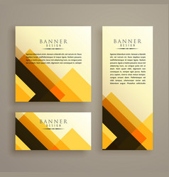 Abstract three cards shape banner design vector