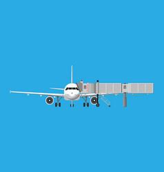 aero bridge or jetway with aircraft vector image