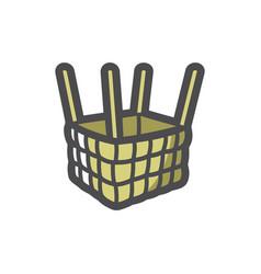 air balloon basket and slings cartoon vector image