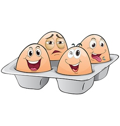 An eggtray with four eggs vector image