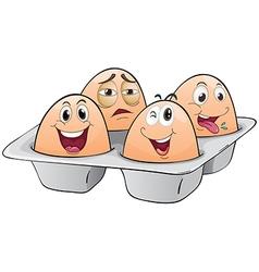 An eggtray with four eggs vector