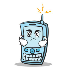 Angry face phone character cartoon style vector