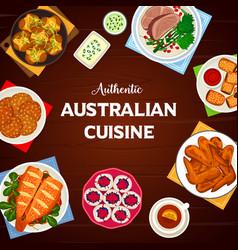Australian cuisine cartoon poster design vector