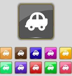 Auto icon sign Set with eleven colored buttons for vector image
