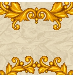 Background with baroque ornamental floral gold vector