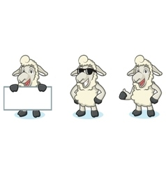 Beige Sheep Mascot happy vector