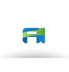 Blue green ai a i alphabet letter logo vector