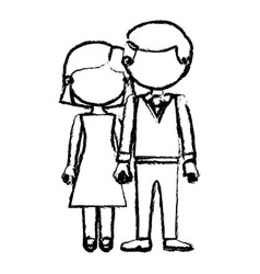 Blurred black contour faceless couple woman with vector