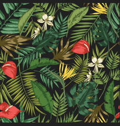 Botanical seamless pattern with foliage exotic vector