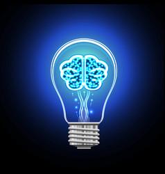 Bulb brain concept thinking vector