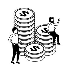 business men and stacked coin money vector image