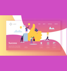 business success landing page successful team vector image
