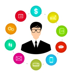 Businessman around icons social media networks and vector image