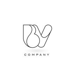 Bv monogram letter logo with thin black monogram vector
