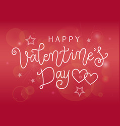calligraphy of happy valentines day on pink vector image