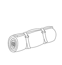 Camping roll mat outline coloring page vector