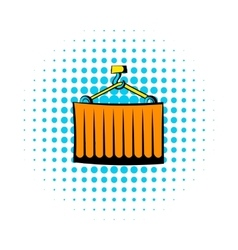 Cargo container comics icon vector