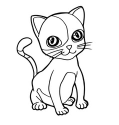 Cartoon cute cat coloring page vector
