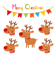 Christmas set cute cartoon emotional reindeers vector