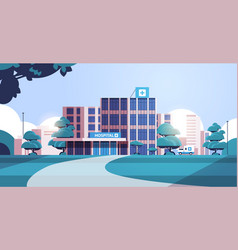 City background with hospital building vector