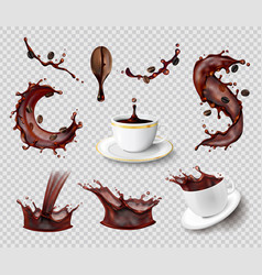 Coffee splashes transparent set vector