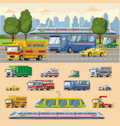 Colorful urban transport concept vector