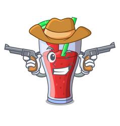 Cowboy character tasty beverage fruit watermelon vector