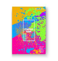 Creative cover frame design paint splatter neon vector